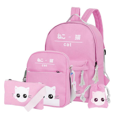 Vbiger 4-in-1 Shoulder Bags Casual Student Daypack for Teenage Girls Cute Cat Pattern - Pink - Bag
