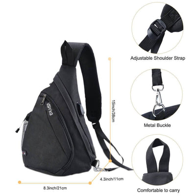 Vbiger Canvas Sling Backpack USB Rechargeable Chest Bag - Bag