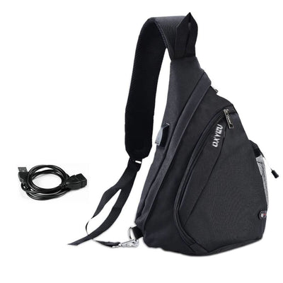Vbiger Canvas Sling Backpack USB Rechargeable Chest Bag - Black - Bag