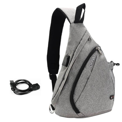 Vbiger Canvas Sling Backpack USB Rechargeable Chest Bag - Grey - Bag