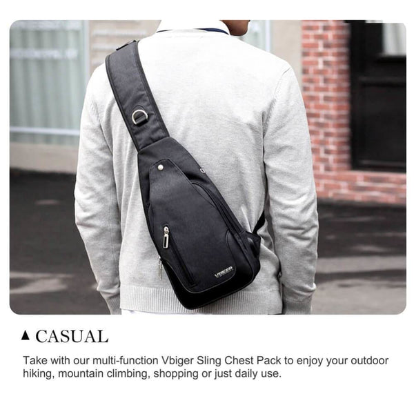 Vbiger Canvas Sling Backpack USB Rechargeable Chest Pack Casual Messenger Bags Outdoor Cross Body Satchel Bag - Bag