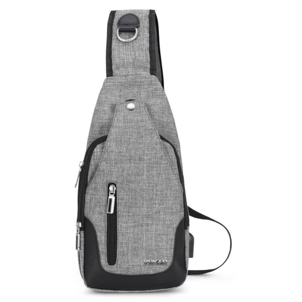 Vbiger Canvas Sling Backpack USB Rechargeable Chest Pack Casual Messenger Bags Outdoor Cross Body Satchel Bag - Grey - Bag