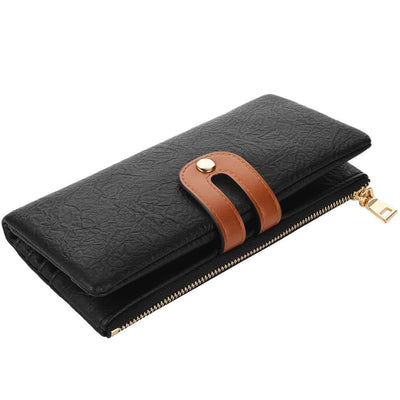 Vbiger Compact Women Purse Foldable Lady Wallet Cellphone Purse Wallet with RFID Blocking Function - Black - Wallet