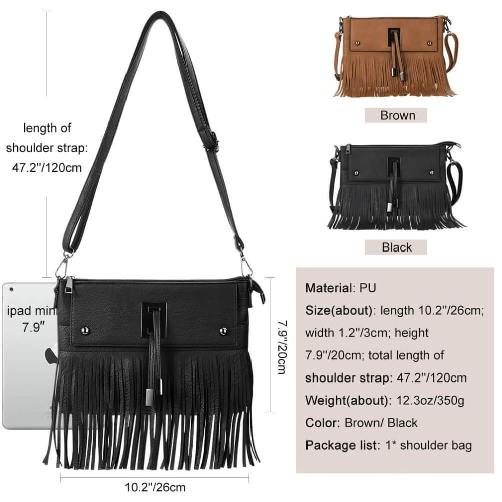 Ladies Women/'s Fashion Tassel Long Strap Shoulder Bag Cross Body Bag New Style
