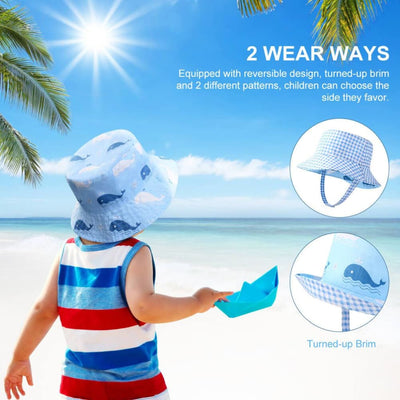 Vbiger Kids Sun Protection Hat UPF 50+ Sun Hat Bucket Hat with Double-sided Design and Improved Self-adhesive Strap - Hats