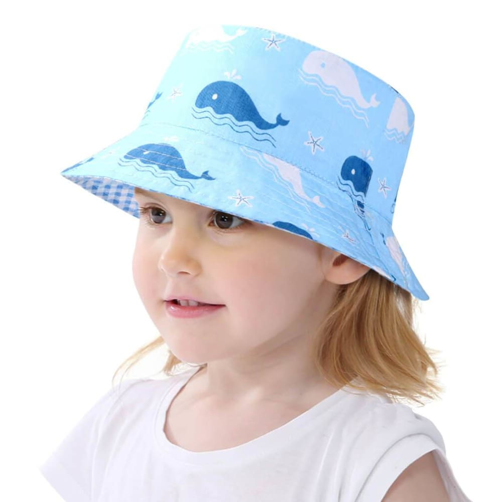 Vbiger Kids Sun Protection Hat UPF 50+ Sun Hat Bucket Hat with Double-sided Design and Improved Self-adhesive Strap - 52cm - Hats
