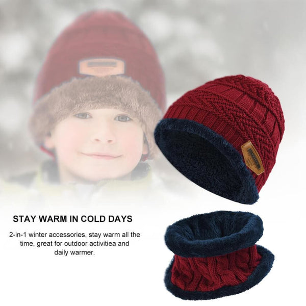 Vbiger Kids Warm Knitted Beanie Hat and Circle Scarf Set - Hats