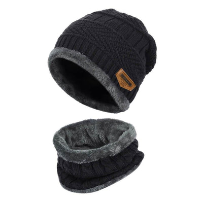 Vbiger Kids Warm Knitted Beanie Hat and Circle Scarf Set - Black - Hats