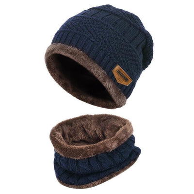 Vbiger Kids Warm Knitted Beanie Hat and Circle Scarf Set - Blue - Hats