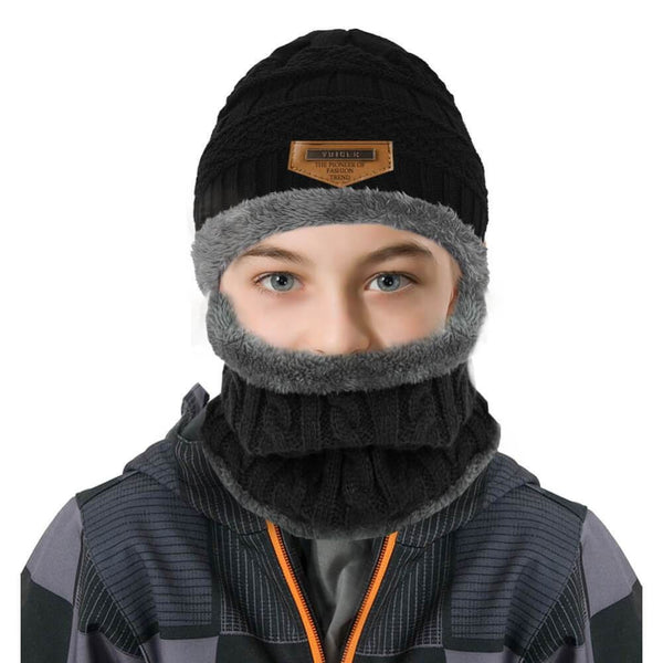 Vbiger Kids Warm Knitted Beanie Hat and Circle Scarf Set - Grey - Hats