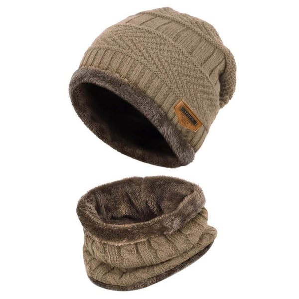 Vbiger Kids Warm Knitted Beanie Hat and Circle Scarf Set - Khaki - Hats