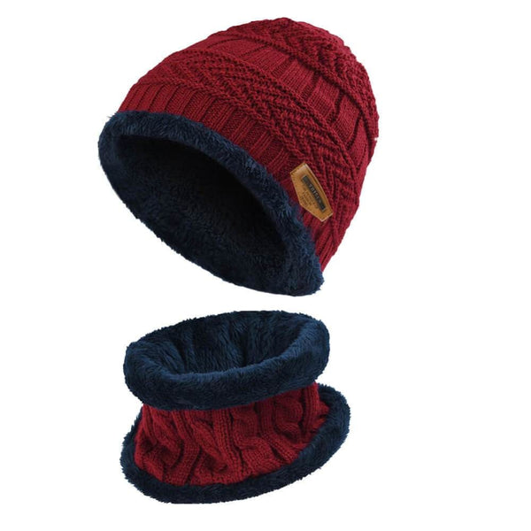 Vbiger Kids Warm Knitted Beanie Hat and Circle Scarf Set - Red - Hats