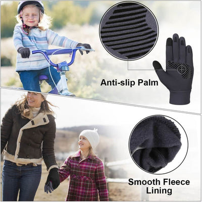 Vbiger Kids Winter Gloves Anti-skid Touch Screen Gloves with Reflective Printing and Silicone Strip - Gloves