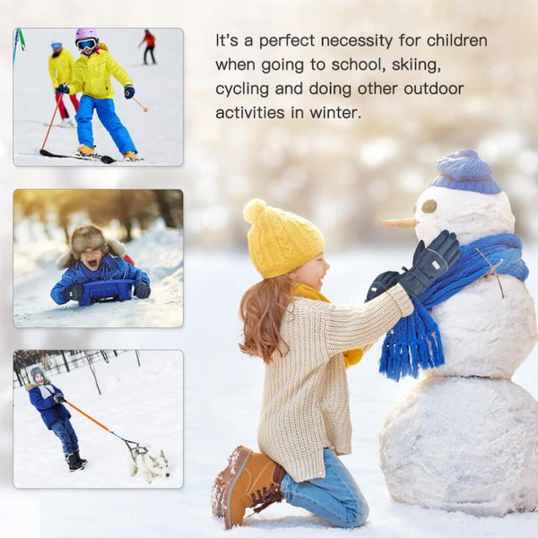 Vbiger Kids Winter Gloves Anti-slip Ski Gloves Cold Weather Gloves Suitable for Kids between 6-8 Years Old Dark Blue - Gloves