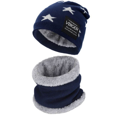 Vbiger Kids Winter Knitted Hat And Infinity Scarf Set 2 Pieces Warm Winter Knitted Set - Navy blue - Hats