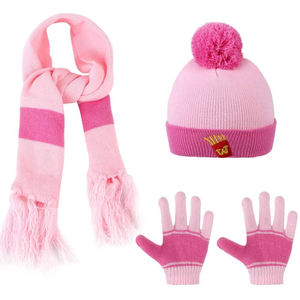 Vbiger Kids Winter Knitted Set Knitted Hat Scarf Gloves for Kids, Pink, 3 Pieces