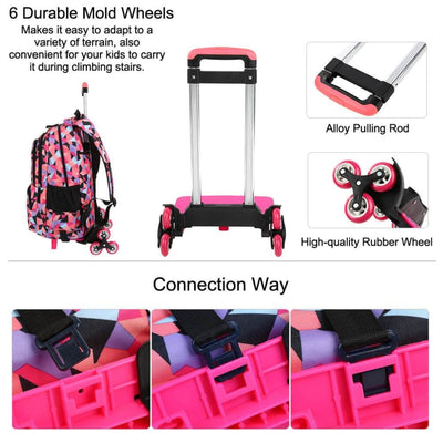 Vbiger Large-capacity Trolley School Bag Travel Rolling Backpacks for Primary School Students - Backpacks