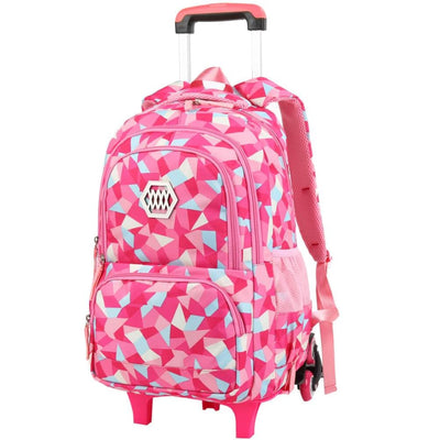 Vbiger Large-capacity Trolley School Bag Travel Rolling Backpacks for Primary School Students - Rosy - Backpacks
