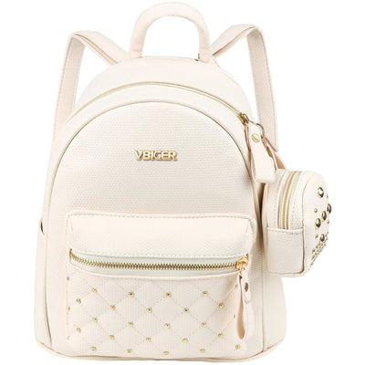 Vbiger Leather Backpack Trendy Travel Shoulders Bag Chic Outdoor Daypack - Beige - Backpacks
