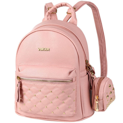Vbiger Leather Backpack Trendy Travel Shoulders Bag Chic Outdoor Daypack - Pink - Backpacks