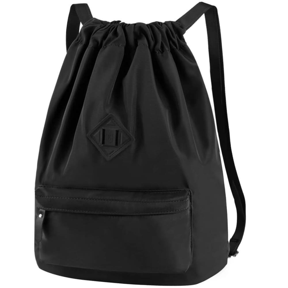 Vbiger Men and Women Drawstring Backpack Chic Classic Travel Drawstring Bag - Black - Backpacks