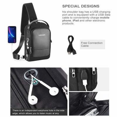 Vbiger Men Cross-body Bag Chest Bag Shoulder Bag with USB Charging Port Black - Bag