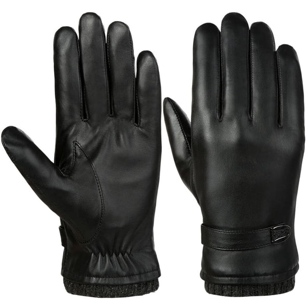 Vbiger Men Leather Gloves Warm Anti-slip Touch Screen Gloves Windproof Cold Gloves - Gloves