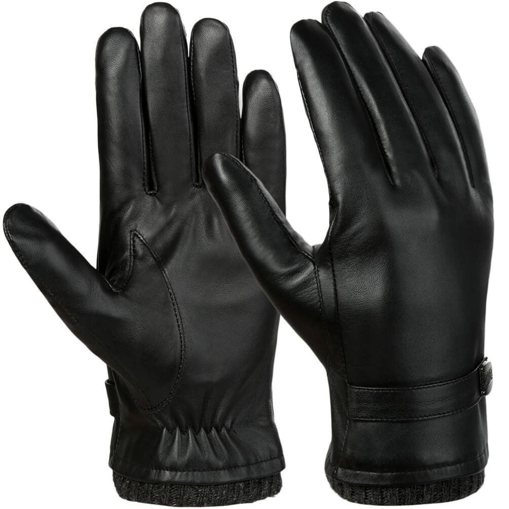 Vbiger Men Leather Gloves Warm  Anti-slip Touch Screen Gloves Windproof Cold Gloves