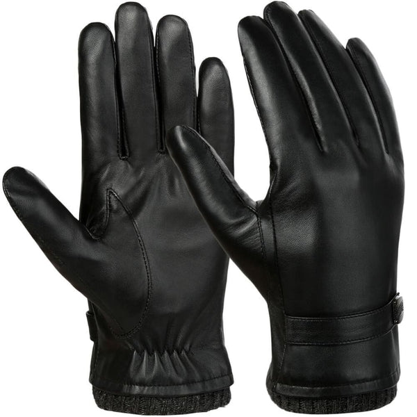 Vbiger Men Leather Gloves Warm Anti-slip Touch Screen Gloves Windproof Cold Gloves - M - Gloves