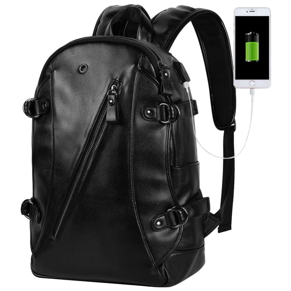 Vbiger Men PU Laptop Backpack Casual Travel Backpack Large Capacity School Bag with USB Cable - Backpacks