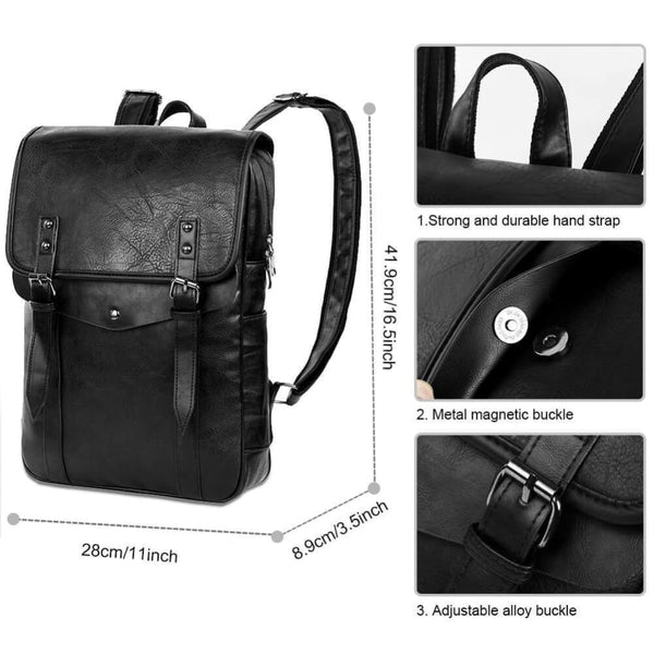 Vbiger Men Vintage PU Leather Backpack Laptop Backpack School Book bag for Men - Backpacks