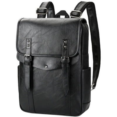 Vbiger Men Vintage PU Leather Backpack Laptop Backpack School Book bag for Men - Black - Backpacks