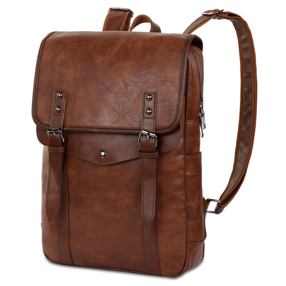 Vbiger Men Vintage PU Leather Backpack Laptop Backpack School Book bag for Men - Brown - Backpacks