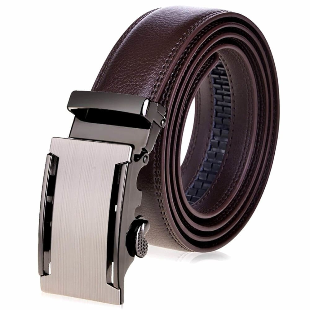 Vbiger Men's Genuine Leather Ratchet Belt  with Automatic Sliding Buckle,Brown