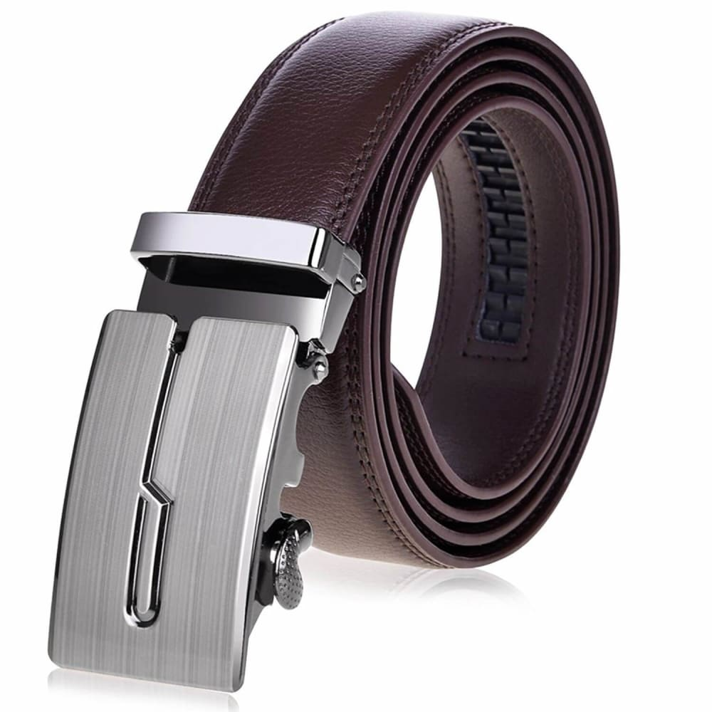Vbiger Men's Leather Ratchet Dress Belt with Automatic Buckle