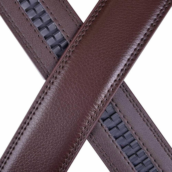 Vbiger Mens Leather Ratchet Dress Belt with Automatic Buckle - Belt