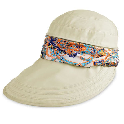 Vbiger New Detachable Sunbonnet for Outdoors Sport Foldable Visor with Zipper and Huge Bongrace - Beige - Hats