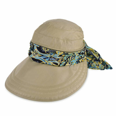 Vbiger New Detachable Sunbonnet for Outdoors Sport Foldable Visor with Zipper and Huge Bongrace - khaki - Hats