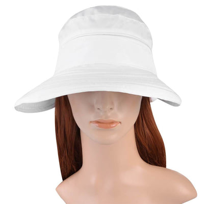 Vbiger New Detachable Sunbonnet for Outdoors Sport Foldable Visor with Zipper and Huge Bongrace - White - Hats