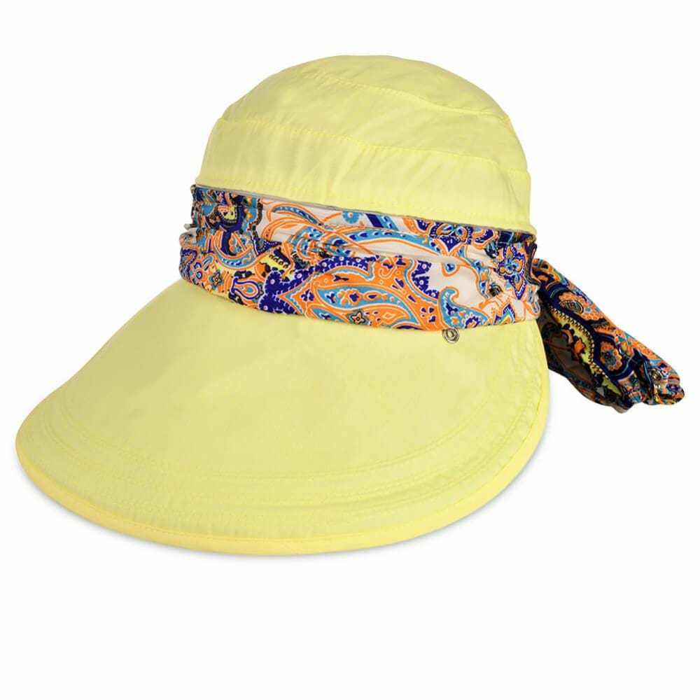 Vbiger New Detachable Sunbonnet for Outdoors Sport Foldable Visor with Zipper and Huge Bongrace - Yellow - Hats