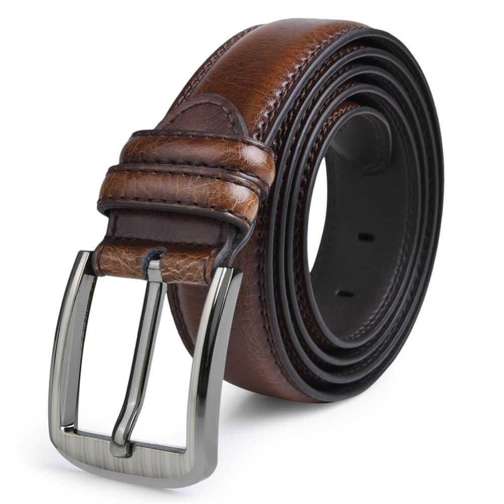 Vbiger Popular Embossing Single-Prong Buckle PU Leather Belt - Belt