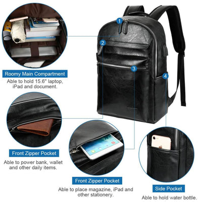 Vbiger PU Leather Backpack Trendy Business Backpacks Large-capacity Laptop Bags - Bag