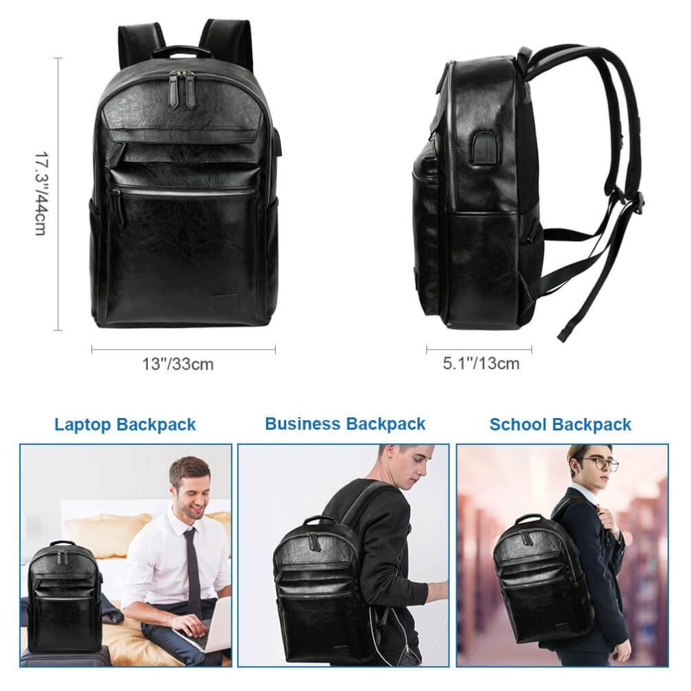 Men/'s PU Leather Bag Waterproof Backpack Rucksack Travel School Satchel Laptop