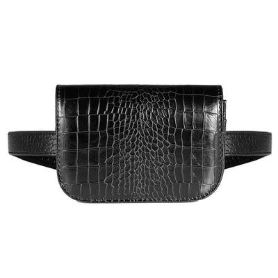 Vbiger PU Leather Waist Bag Chic Fanny Pack Fashionable Compact Waist Packs for Women Crocodile Pattern Black - Bag