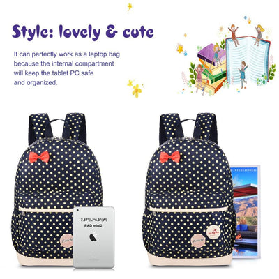 Vbiger School Bag Waterproof Nylon Shoulder Day pack Polka Dot Backpacks - Backpacks