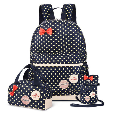 Vbiger School Bag Waterproof Nylon Shoulder Day pack Polka Dot Backpacks - Dark Blue - Backpacks