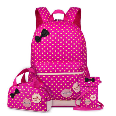 Vbiger School Bag Waterproof Nylon Shoulder Day pack Polka Dot Backpacks - Rose Red - Backpacks