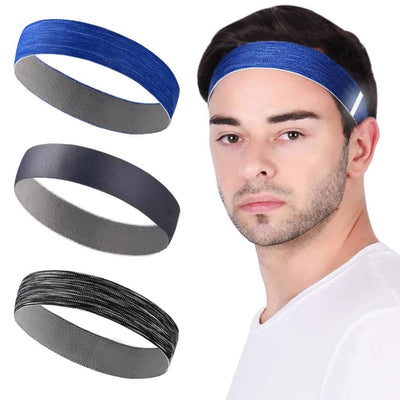 Vbiger Sports Headband Stretchy Sweatbands Workout Headbands for Running Training Yoga 3-Pack - For Men - Hats