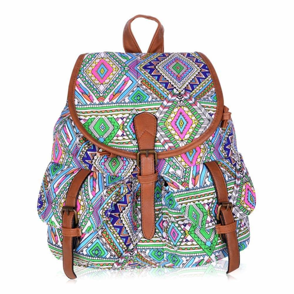 Vbiger Stylish and Ethnic Bag for Travelling Popular Canvas Backpack for Women with Elephant Pattern - Style1 - Bag