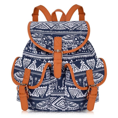 Vbiger Stylish and Ethnic Bag for Travelling Popular Canvas Backpack for Women with Elephant Pattern - Style2 - Bag